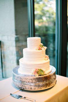 simple tiered wedding cake with vintage cake stand #weddingcake #simplecake #weddingchicks http://www.weddingchicks.com/2014/01/24/teen-spirit-wedding