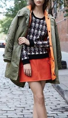 Street style: Currently loving this rag & bone look with the orange miniskirt