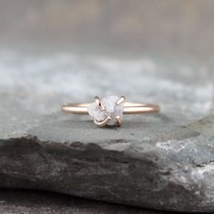 Raw Uncut Rough Diamond Engagement Ring  - 14K Rose Gold Engagement Ring -  Rough Diamond Gemstone Ring - Pink Gold Ring