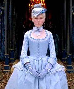 Marie-Antoinette & Tricorn, as she transitions between Austrian life and French life.  The saddest part of this scene is when she was forced to give up her Austrian dog.  LOVE LOVE LOVE the color of this dress.  This is one of my all time favorite movies for old school feminine fashion!!!