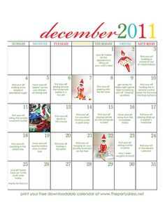 Elf on the Shelf Calendar december, party dresses, shelf idea, christmas elf, elf on shelf, shelf calendar, elves, kid, printable calendars
