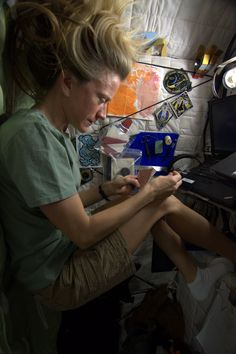 "Spending a little Saturday afternoon down time in my ""sewing space"". KN from space."