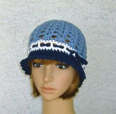 Victorian Style Cloche Blue and White Women by CrochetHatsForYou