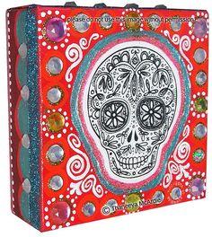 Sugar Skull Mixed Media Art