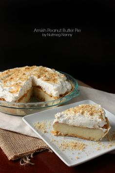 A creamy Amish peanut butter pie made with homemade vanilla pudding, lots of little peanut butter bits and smothered with homemade whipped cream.