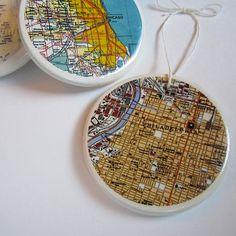 mod podge a map of where you got married, where your kiddos were born, etc. onto a ceramic ornament.