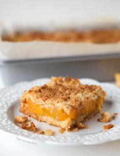 Peach Crumb Bars | tablefortwoblog.com