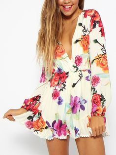long sleeve romper, floral prints, print clothes, sleev romper, romper playsuit, print long