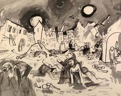 Felix Nussbaum (murdered in Auschwitz on 9 August 1944). The demise of Europe plays itself out against a backdrop of destroyed buildings. The full moon and the sun visible in the overcast sky. Figures appear in the center. A woman crouching on the ground next to a standing figure with hands raised to the sky. The bodies of victims scattered throughout the scene. In the left foreground, two figures face forward; one covers her mouth with her hand, the other raises a hand to her forehead. draw, holocaust art, felix nussbaum