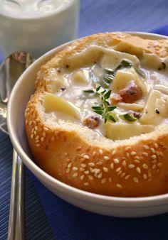 Sausage, Corn, Potato and Cheddar Chowder in a Bread Bowl