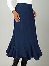 Dashing in Denim and Twill Skirt | Bedford Fair. Love the twirl at the bottom!
