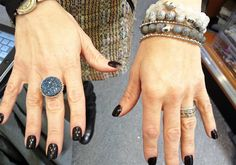 Beth from Anzie in our store with black nail polish and glam Anzie jewels/