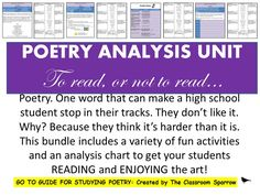 This poetry unit introduces students to important terms that would be necessary to know and understand before proceeding with the activities. In addition to some introductory poetic terms and devices, this unit includes a poetry analysis chart which has proven to be an effective took to use when doing poetry with students (chart can be used with ANY poem).
