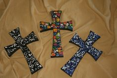 Crosses made from broken tiles and plates