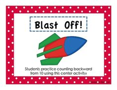 FREE printable math center activity to practice counting back from 10.