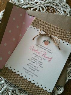 Burlap Invitation, Recipe Card, Bridal Shower, Baby Shower, Vintage, Rose
