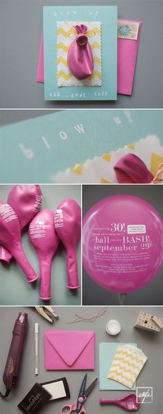 Cutest invitations ever!  Custom printed balloons with all the party information.