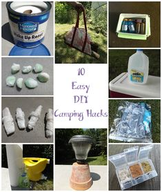 The Thriftiness Miss: A Camping We Will Go  Wood tote a great idea, and solar yard lights on the table.  But I don't want to bring pots - how else could I get them to stand up?