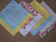 Self-binding receiving blanket. I love making these! Quick, easy and oh so cute!