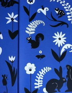 """Endpaper detail from """"The Cat At Night"""", Dahlov Ipcar 1969"""