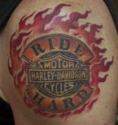 harley-davidson tattoos | Arrows And Embers Custom Tattooing: Harley Davidson Ride Hard Tattoo ...