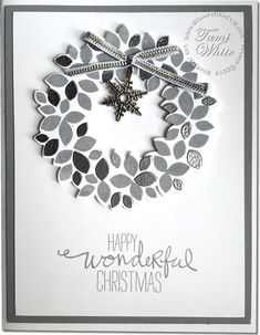 Silver Heat Embossed Wondrous Wreath Christmas Card from Jennifer cotton. #stampinup Video on blog