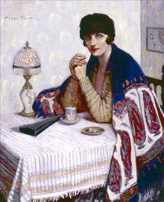 'Girl with Cigarette' (c.1925) by Agnes Goodsir (1864-1939). Oil on canvas. 100.0 x 81.0 cm (39.37 x 31.88 in). Location: Bendigo Art Gallery, Bendigo, Victoria, Australia. Visit museum: http://tinyurl.com/9mobug // Notes: Sitter was Goodsir's partner, Rachel Dunn, nicknamed Cherry. More: http://tinyurl.com/6teshoc // Bio notes on this artist: http://tinyurl.com/6talvyw // Found by @RandomMagicTour (https://twitter.com/randommagictour) - Sasha Soren - Book trailer: http://tinyurl.com/yl26xwa