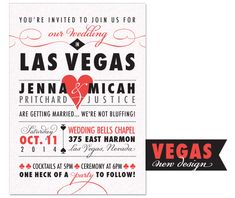 Las Vegas Wedding Invitation | by The Green Kangaroo, Inc.