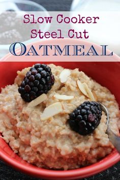 Slow Cooker Steel Cut Oatmeal :: Great Crockpot recipe for back to school!