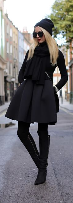Winter 2013. London styling....Black from head to toe. ::M::