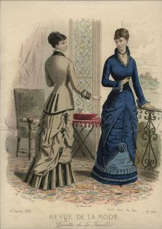 Love the braid detail on the beige and green outfit. Revue de la Mode 1879