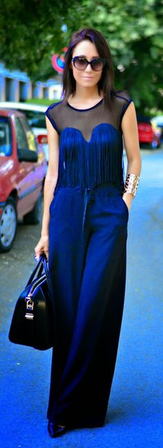 Everyday New Fashion: Navy Fringe Top With Pants And Black Bag