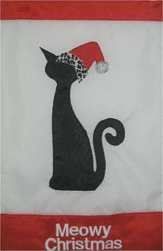 Wild Cat Meowy Christmas garden flag, $18.0