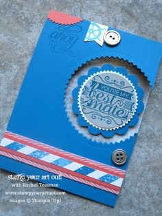 Floating image card using Hello Sailor stamp set and High Tide designer paper from Stampin' Up!® - Stamp Your Art Out! www.stampyourartout.c...