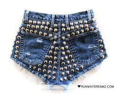 #DIY #shorts #denim #studs