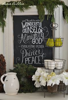 Dear Lillie: Christmas Chalkboard and Our Family Room. Christmas decoration using a simple chalkboard and writing out a Bible verse from Isaiah in chalk or chalk pen.