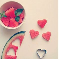 ... heart, cut watermelon, heart cut, watermelons, watermelon flower