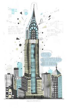 drawings, sketch art buildings, big apple, gulliv hancock, new york city