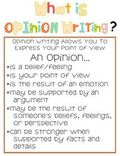 Opinion Writing Unit: My Opinion Matters
