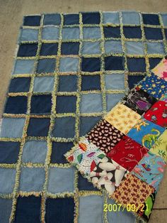 Denim Quilt made from recycled jeans