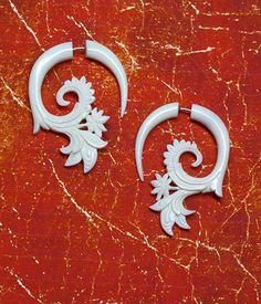 Fake Gauge  Earrings  White Flora Curls  White by PrimalOriginals, $25.00