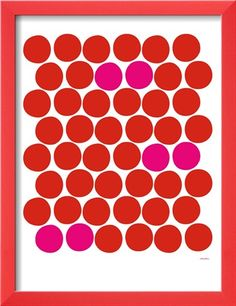 Red Pink Dots Stretched Canvas