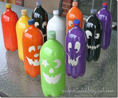 Pumpkin bowling bottles. Squirt a small amount of paint in the bottom of each water bottle. Put the caps back on all your bottles. Shake each bottle vigorously to spread the paint all through the bottle. Remove cap and pour out any excess paint/water. Keep the cap off and allow your paint bottles to dry. Might take at least overnight.