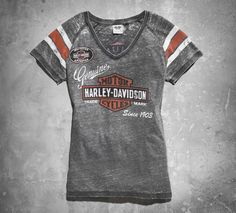Pair this graphic-print V-neck with your favorite miniskirt for an unexpectedly cool Valentine's Date Night look.   Harley-Davidson Women's Genuine Oil Can Burnout Tee