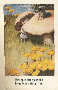 """""""Alice & The Caterpillar"""", by Bessie Pease Gutmann, 1907."""