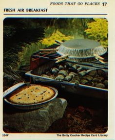 Retro Camping Recipe: Campers' Coffee Cake using a packaged muffin mix, 2 disposable foil pie pans, and clothes pins!