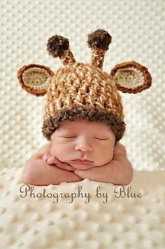 Newborn Baby Crochet Giraffe Hat Photo Prop. $27.00, via Etsy.