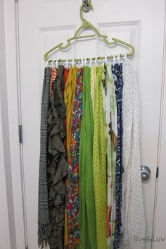 cheap scarf organizer: take any sturdy hanger and add shower curtain rings. Hang on a hook behind a door for a colorful and practical display.
