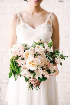 Elegant blush and ivory garden-style bouquet. #wedding #flowers #bridal #bouquet