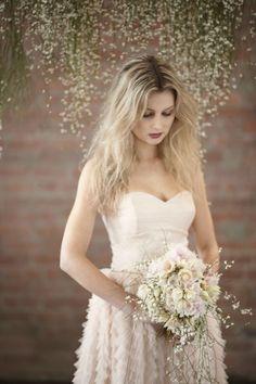 wedding dressses, bridal musings, messy hair, blush weddings, bridal shoot, wedding bouquets, hanging flowers, pink weddings, blush pink